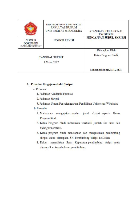Sop Pengajuan Judul Skripsi Penyusunan Skripsi Fakultas Hukum